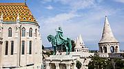 Statue of St Stephen (sv Istvan) by the Fishermen's Bastion by Halaszbastya on Castle Hill. Hungary, Budapest,