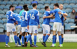 Jack Baldwin of Peterborough United (second right) celebrates scoring the opening goal of the game with team-mates - Mandatory by-line: Joe Dent/JMP - 25/02/2017 - FOOTBALL - ABAX Stadium - Peterborough, England - Peterborough United v Rochdale - Sky Bet League One