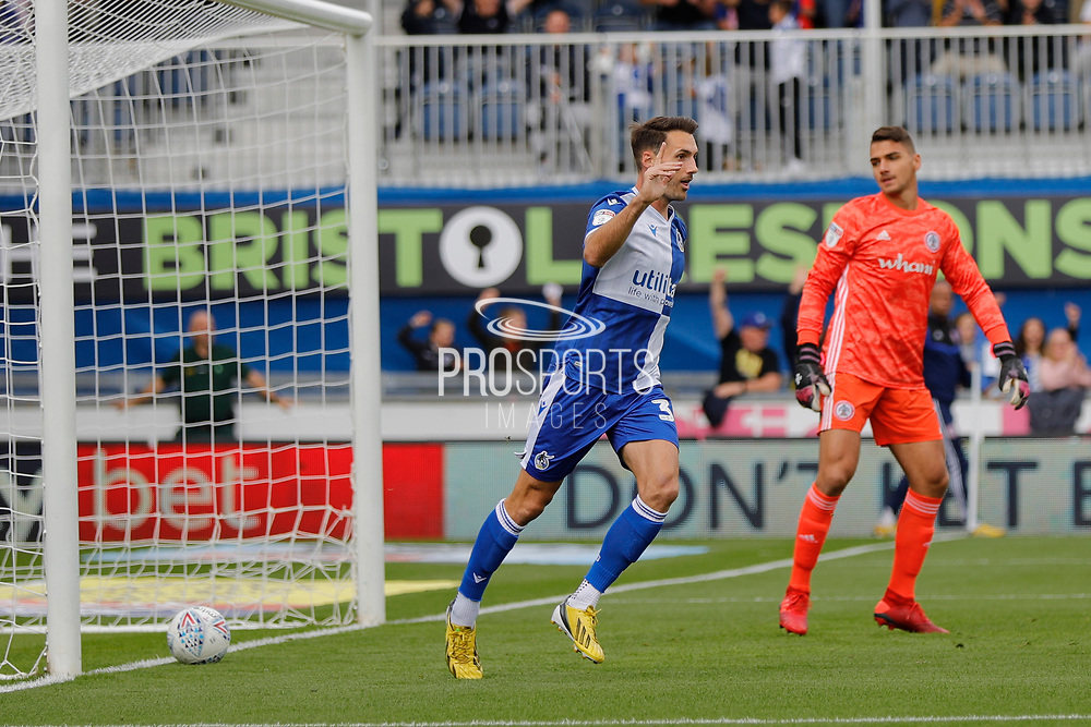 Bristol Rovers forward Alex Rodman celebrates a goal during the EFL Sky Bet League 1 match between Bristol Rovers and Accrington Stanley at the Memorial Stadium, Bristol, England on 7 September 2019.