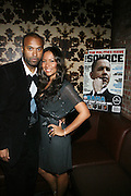 """l to r: Londell McMillan and Valiesha Butterfield at The Russell Simmons and Spike Lee  co-hosted """"I AM C.H.A.N.G.E!"""" Get out the Vote Party presented by The Source Magazine and The HipHop Summit Action Network held at Home on October 30, 2008 in New York City"""