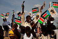Supporter of Salva Kiir the president of South Sudan cheer at an  rally in Juba.