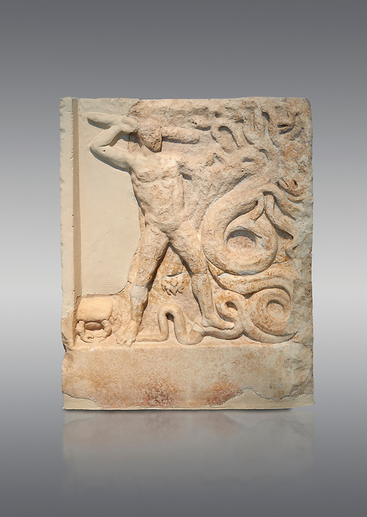 Ancient Greek relief panel depicting the slaying of the Lernaian Hydra from the Labours of Hercules, Mylos, 3rd Cent BC Athens National Archaeological Museum. Cat no 3617.   Against grey.