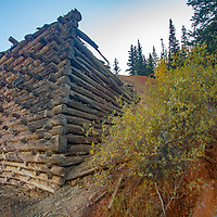 A rock and log foundtion are is all that remains of a mining mill near Silverton, Colorado.