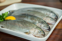 Trout on tray, close up