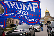"21 NOVEMBER 2020 - DES MOINES, IOWA: About 100 supporters of US President Donald Trump gathered at the Iowa State Capitol to rally in support of the President and in opposition to the outcome of the US election. They are a part of the ""Stop the Steal"" movement which has spread across the US. This is the third week that there have been ""Stop the Steal"" rallies across the US. Most independent observers and election officials, both Republican and Democratic, have said the election was free and fair and that there was no election of fraud.     PHOTO BY JACK KURTZ"