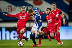 (L-R) Richard Jensen of FC Twente, Martin Odegaard of sc Heerenveen, Cristian Cuevas of FC Twente during the Dutch Eredivisie match between sc Heerenveen and FC Twente Enschede at Abe Lenstra Stadium on February 03, 2018 in Heerenveen, The Netherlands