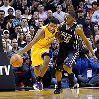 19 January 2012: Los Angeles Lakers guard Darius Morris (1) brings the ball up court past Miami Heat point guard Mario Chalmers (15) during the Miami Heat 98-87 victory over the Los Angeles Lakers at the AmericanAirlines Arena, Miami, Florida, USA.