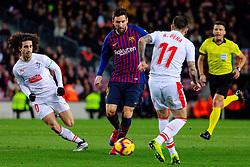 BARCELONA, Jan. 14, 2019  SP)SPAIN-BARCELONA-SOCCER-LA LIGA-BARCELONA VS EIBAR.    Barcelona's Lionel Messi (2nd L) dribbles.    during a Spanish league match between FC Barcelona and SD Eibar in Barcelona, Spain, on Jan. 13, 2019. FC Barcelona won 3-0. (Credit Image: © Joan Gosa/Xinhua via ZUMA Wire)