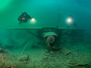 Scubadivers on the Aircraft Cessna wreck at Dutch Springs, Scuba Diving Resort in Pennsylvania