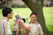 A boy scout holds a handful of flags to be placed at soldiers graves at Punchbowl Cemetery in Honolulu.