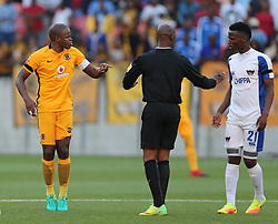 Willard Katsande (c) of Kaizer Chiefs (L) and Thamsanqa Sangweni of Chippa United (R) during the 2016 Premier Soccer League match between Chippa United and Kaizer Chiefs held at the Nelson Mandela Bay Stadium in Port Elizabeth, South Africa on the 3rd December 2016.<br /> <br /> Photo by:   Richard Huggard / Real Time Images