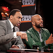 ESPN NBA analyst Stephen A. Smith and the rapper Common are seen on the set of ESPN's First Take, broadcasted live from The House of Blues in Houston. ©Travis Bell Photography