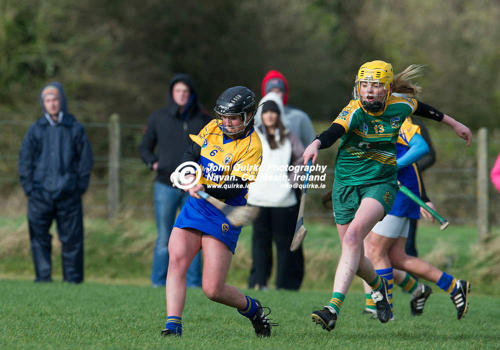 26-02-17. Meath v Clare - Littlewoods Ireland National Camogie League Division 1 Group 2 at Kilcloon.<br /> Orlaith Duggan, clearing as Aoife Minogue, Meath tries to hook.<br /> Photo: John Quirke / www.quirke.ie<br /> ©John Quirke Photography, Unit 17, Blackcastle Shopping Cte. Navan. Co. Meath. 046-9079044 / 087-2579454.
