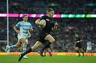 Beauden Barrett of New Zealand runs in and 'scores' a try that was later disallowed. Rugby World Cup 2015 pool C match, New Zealand v Argentina at Wembley Stadium in London on Sunday 20th September 2015.<br /> pic by John Patrick Fletcher, Andrew Orchard sports photography.