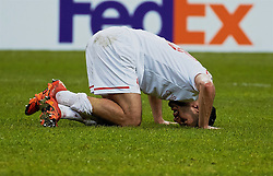 KAZAN, RUSSIA - Thursday, November 5, 2015: Liverpool's Emre Can is brought down but no penalty was awarded against Rubin Kazan during the UEFA Europa League Group Stage Group B match at the Kazan Arena. (Pic by Oleg Nikishin/Propaganda)