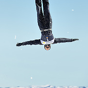 Zac Amidan (Ogden, UT) performs aerial acrobatics during the 2009 Sprint US Freestyle Championships held at the Utah Olympic Park in Park City on March 8, 2009. Amidan scored 163.26 points on the day which was good enough for 4th place overall.