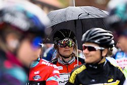 Rain featured often throughout the afternoon of racing at Dwars door de Westhoek 2016. A 127km road race starting and finishing in Boezinge, Belgium on 24th April 2016.