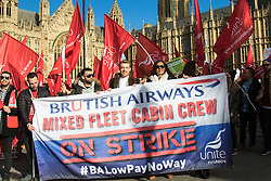 Westminster, February 7th 2017. Striking cabin crew from British Airways protest against poor pay that has forced some members of staff to sleep in their cars as they are unable to meet their living expenses. 2,900 members of the Unite union mixed fleet division, mainly younger and lower-paid BA recruits, have been striking for three days from Sunday 5 February, and will do so again from Thursday 9 February, after previous strikes did nothing to resolve the dispute.