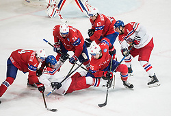 Johannes Johannesen of Norway, Tomas Zohorna of Czech Republic, Andreas Martinsen of Norway, Kristian Forsberg of Norway, Alexander Bonsaksen of Norway and Jan Kovar of Czech Republic during the 2017 IIHF Men's World Championship group B Ice hockey match between National Teams of Czech Republic and Norway, on May 11, 2017 in AccorHotels Arena in Paris, France. Photo by Vid Ponikvar / Sportida