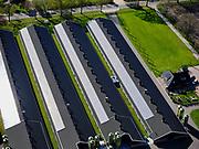 Nederland, Drenthe, Zuidwolde, 07-05-2021; intensieve veeteelt fokken van kippen (vleeskuikens). De stallen zijn voorzien van zonnepanelen.<br /> <br /> luchtfoto (toeslag op standard tarieven);<br /> aerial photo (additional fee required)<br /> copyright © 2021 foto/photo Siebe Swart