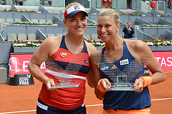 May 13, 2017 - Madrid, Spain - TIMEA BABOS of Hungary and ANDREA HLAVACKOVA of The Czech Republic pose with their trophies after the  doubles final in the Mutua Madrid Open tennis tournament. (Credit Image: © Christopher Levy via ZUMA Wire)