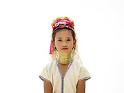 Dta Mi 7, an ethnic Kayan girl from Myanmar at Baan Tong Luang, Eco-Agricultural Hill Tribes Village on 7th June 2016 in Chiang Mai province, Thailand. The fabricated village is home to 8 different hill tribes who make a living from selling their handicrafts and having their photos taken by tourists