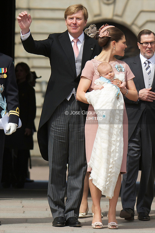 Sweden's Crown Princess Victoria and Prince Daniel  christening their daughter, Princess Estelle, at the Royal Chapel in Stockholm. Princess Estelle is second in line to the throne after her mother Crown Princess Victoria