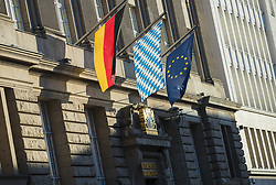 July 4, 2018 - Berlin, Germany - A German, a flag from Bavaria and and European Flag wave in front of the entrance of the Permanent representation of Bavaria with the Federal Government in Berlin, Germany on July 4, 2018, (Credit Image: © Emmanuele Contini/NurPhoto via ZUMA Press)