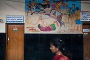 In Madurai train station a mural depicts the Jallikattu. Images of the sport can be found all over southern Tamil Nadu.