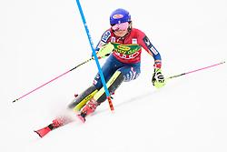 January 7, 2018 - Kranjska Gora, Gorenjska, Slovenia - Mikaela Shiffrin of United States of America competes on course during the Slalom race at the 54th Golden Fox FIS World Cup in Kranjska Gora, Slovenia on January 7, 2018. (Credit Image: © Rok Rakun/Pacific Press via ZUMA Wire)