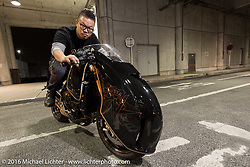 """Winston Yeh on his custom Rough Crafts MV Agusta Brutale 800 RR """"Ballistic Trident"""" in the Mooneyes Yokohama Hot Rod & Custom Show staging area after the Mooneyes Yokohama Hot Rod & Custom Show. Yokohama, Japan. December 4, 2016.  Photography ©2016 Michael Lichter."""