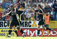 Photo: Ashley Pickering.<br /> Norwich City v Cardiff City. Coca Cola Championship. 01/09/2007.<br /> Roger Johnson (R) celebrates his winning goal for Cardiff