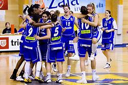 Players of Celje celebrate at finals match of Slovenian 1st Women league between KK Hit Kranjska Gora and ZKK Merkur Celje, on May 14, 2009, in Arena Vitranc, Kranjska Gora, Slovenia. Merkur Celje won the third time and became Slovenian National Champion. (Photo by Vid Ponikvar / Sportida)