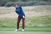 4th October 2017, The Old Course, St Andrews, Scotland; Alfred Dunhill Links Championship, practice round; Actor Jamie Dornan hits a shot from the fairway on the seventeenth hole during a practice round before the Alfred Dunhill Links Championship on the Old Course, St Andrews