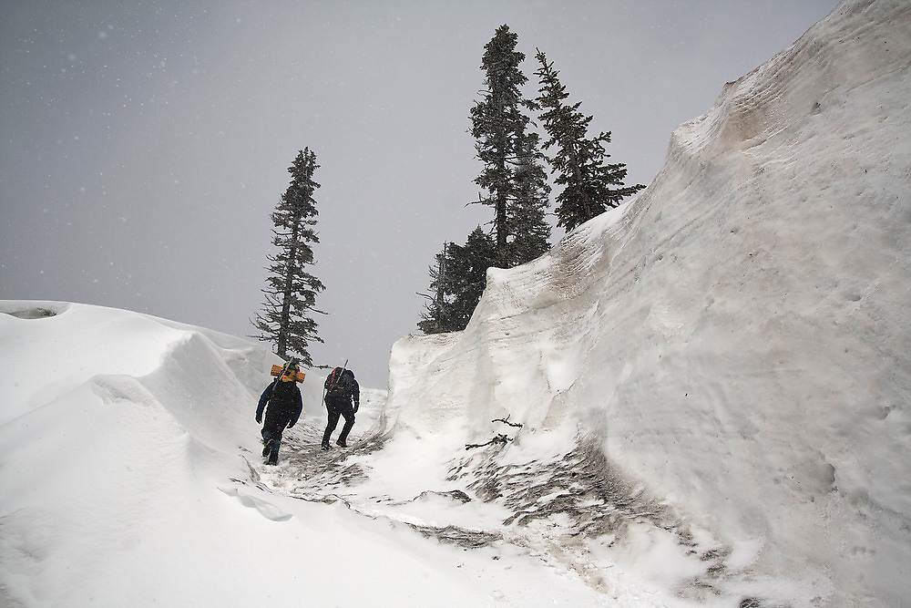 """Members of the University of Washington Climbing Club arrive for """"Snow School"""" at Paradise in Mount Rainier National Park, Washington. At the annual club event, members practice essential skills like glacier crevasse rescue and self arrest."""