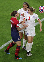 England's Jill Scott and Ellen White have words with Norway's Isabell Herlovsen (left) during the FIFA Women's World Cup, Quarter Final, at Stade Oceane, Le Havre, France.