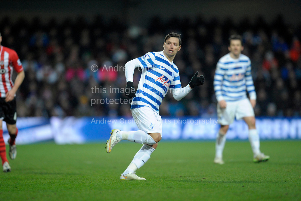 Mauro Zarate of QPR looks on. Barclays Premier league match, Queens Park Rangers v Southampton at Loftus Road in London on Saturday 7th Feb 2015. pic by John Patrick Fletcher, Andrew Orchard sports photography.