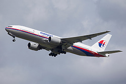 © Licensed to London News Pictures. FILE PHOTO. Pictured is a Malaysia Airlines Boeing 777-200, similar to the MALAYSIAN Airlines passenger plane with 295 people that has crashed in Ukraine today 17th July 2014. Photo credit: Ian Schofield/LNP.