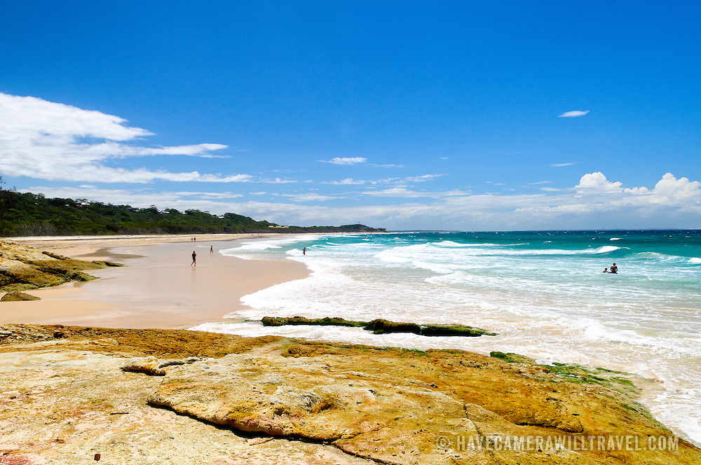Cylinder Beach on North Stradbroke Island, Queensland, Australia North Stradbroke Island, just off Queensland's capital city of Brisbane, is the world's second largest sand island and, with its miles of sandy beaches, a popular summer holiday destination.