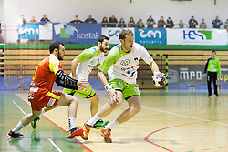 David Miklavcic of Slovenia during friendly handball match between National Teams of Slovenia and F.Y.R. of Macedonia before EHF EURO 2016 in Poland on January 4, 2015 in Sports hall Krsko, Krsko, Slovenia. Photo by Urban Urbanc / Sportida