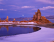 Partial lunar eclipse above Mono Lake and tufa towers, South Tufa, Mono Lake Tufa State Reserve and Mono Basin National Forest Scenic Area, Inyo National Forest, California.