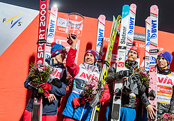 10.03.2018, Holmenkollen, Oslo, NOR, FIS Weltcup Ski Sprung, Raw Air, Oslo, Teamspringen, im Bild Kamil Stoch (POL), Robert Johansson (NOR), Johann Andre Forfang (NOR) // Kamil Stoch of Poland, Robert Johansson of Norway, Johann Andre Forfang of Norway  during Team Competition of the 1st Stage of the Raw Air Series of FIS Ski Jumping World Cup at the Holmenkollen in Oslo, Norway on 2018/03/10. EXPA Pictures © 2018, PhotoCredit: EXPA/ JFK