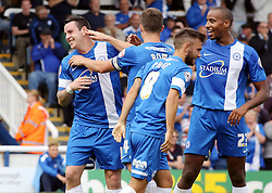 Peterborough United's Lee Tomlin celebrates scoring  - Photo mandatory by-line: Joe Dent/JMP - Tel: Mobile: 07966 386802 17/08/2013 - SPORT - FOOTBALL - London Road Stadium - Peterborough -  Peterborough United V Oldham Athletic - Sky Bet League One