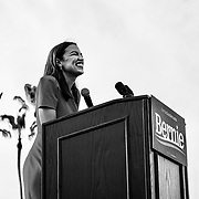 Bernie Sanders and Alexandria Ocasio-Cortez hold a rally in Venice Beach, CA to hundreds of loyal supporters.