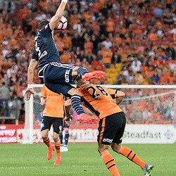 BRISBANE, AUSTRALIA - OCTOBER 7: Daniel Georgievski of the Victory and Brandon Borrello of the Roar compete for the ball during the round 1 Hyundai A-League match between the Brisbane Roar and Melbourne Victory at Suncorp Stadium on October 7, 2016 in Brisbane, Australia. (Photo by Patrick Kearney/Brisbane Roar)