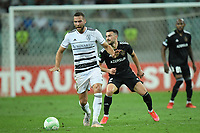 Gara Garayev (2) of Qarabag FK fights for the ball with Heinz Linder (1) of FC Basel  during the UEFA Europa Conference League group H match between Qarabag FK and FC Basel at  on September 16, 2021 in Baku, Azerbaijan.