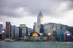 Hong Kong, China skyline featuring Central Plaza and the Hong Kong Convention and Exhibition Centre.
