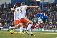 Portsmouth Forward, Conor Chaplin (19) with a pass during the EFL Sky Bet League 1 match between Portsmouth and Blackpool at Fratton Park, Portsmouth, England on 24 February 2018. Picture by Adam Rivers.
