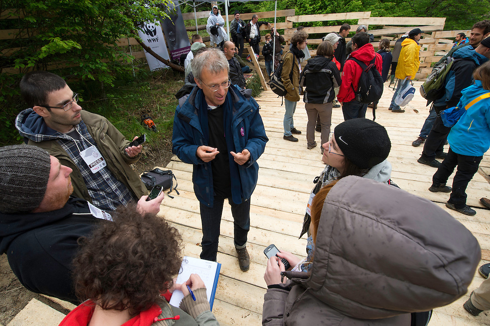 Wouter Helmer, Rewilding Europe, being interviewed at the release of European bison, Bison bonasus, in the Tarcu mountains nature reserve, Natura 2000 area, Southern Carpathians, Romania. The release was actioned by Rewilding Europe and WWF Romania in May 2014.