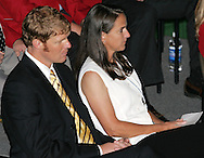 28 August 2006: 2006 Hall of Fame inductees Alexi Lalas (left) and Carla Overbeck (right) listen to co-inductee Al Trost's (not pictured) acceptance speech. The National Soccer Hall of Fame Induction Ceremony was held at the National Soccer Hall of Fame in Oneonta, New York.